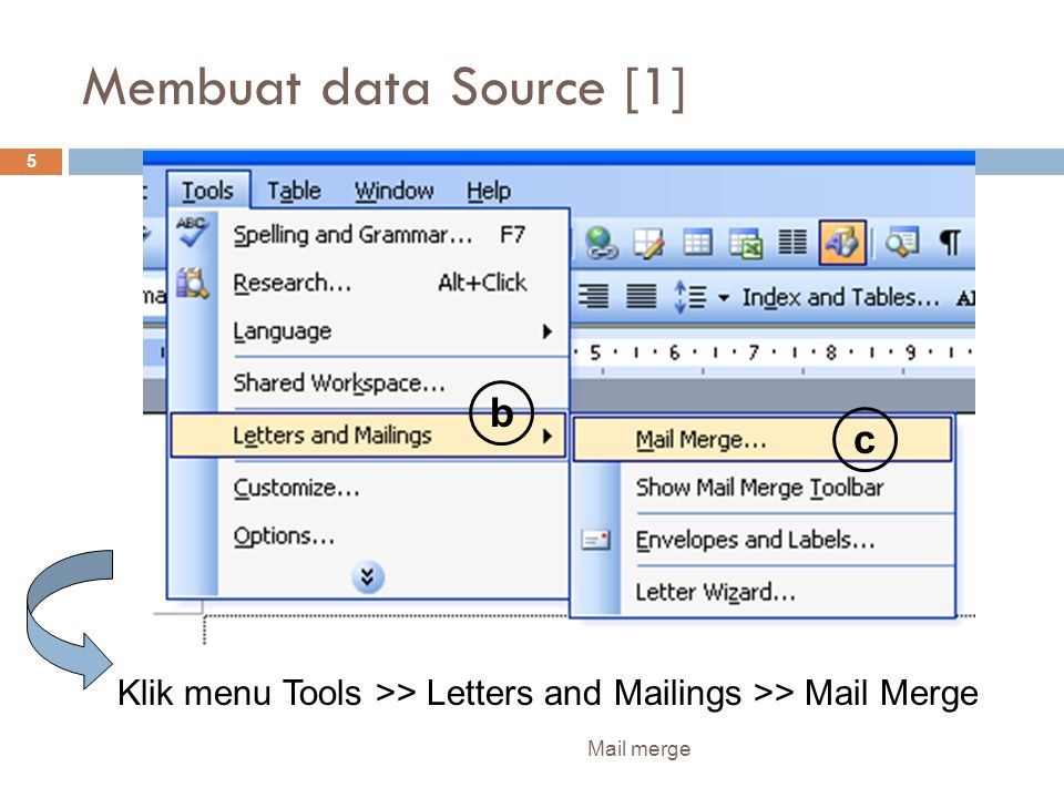 Membuat data Source [1] b c